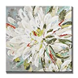 UAC WALL ARTS 100% Hand Painted Colorful Flower Canvas Art Summer Floral Oil Paintings Contemporary Artwork With Embellishment Wall Art Gallery Wrapped - Ready to hang! 32x32 Inch