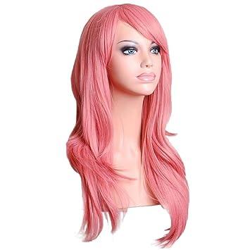 Vovotrade Larga sintética del partido de Cosplay ondulado pelucas llenas (rosa)