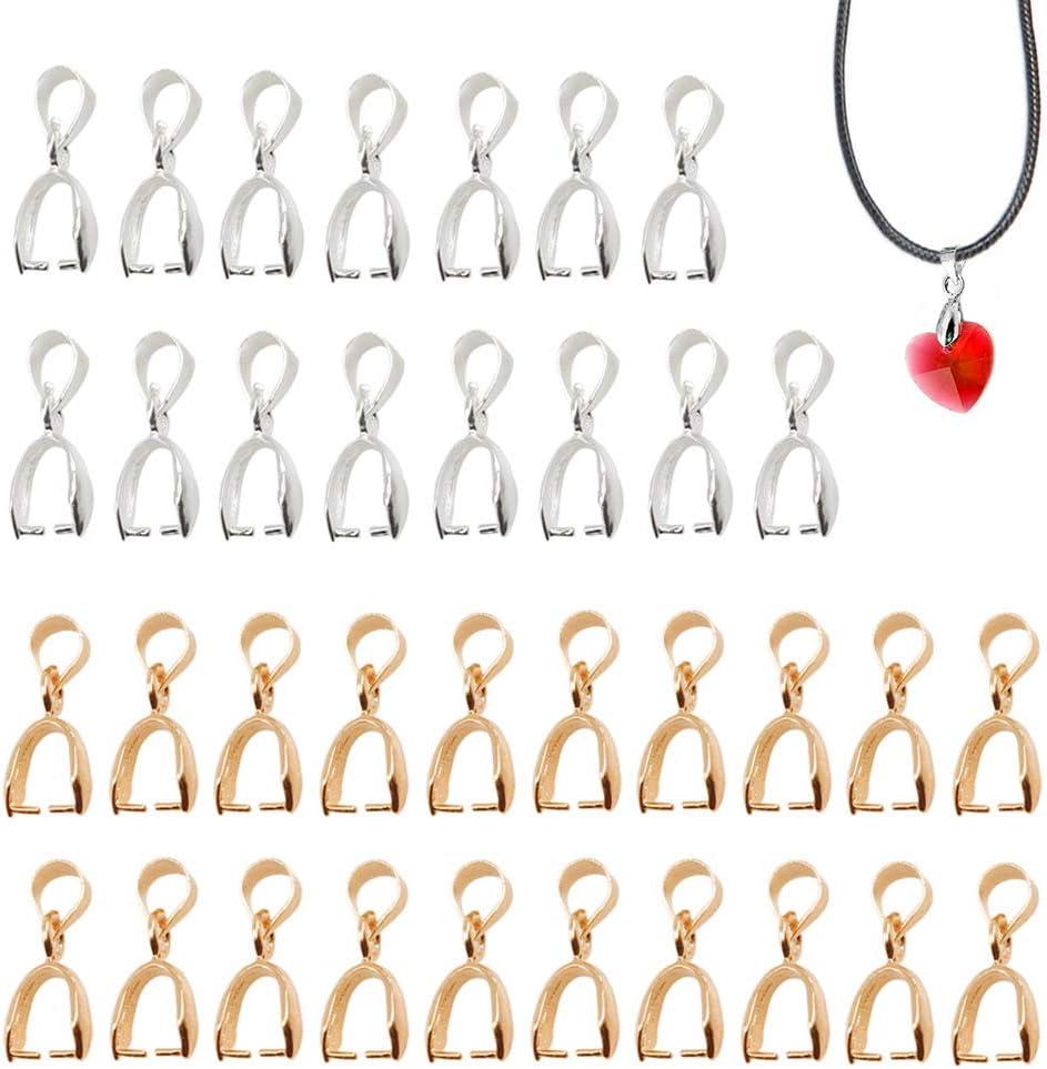 Sweieoni 100 Piezas Cierres para Collares Cierres para Pulseras Ganchos de Collar para Hacer Joyas Conectores para Joyería Cierres Cierre Bails Colgantes para Creación de Bisutería, 2 Colores
