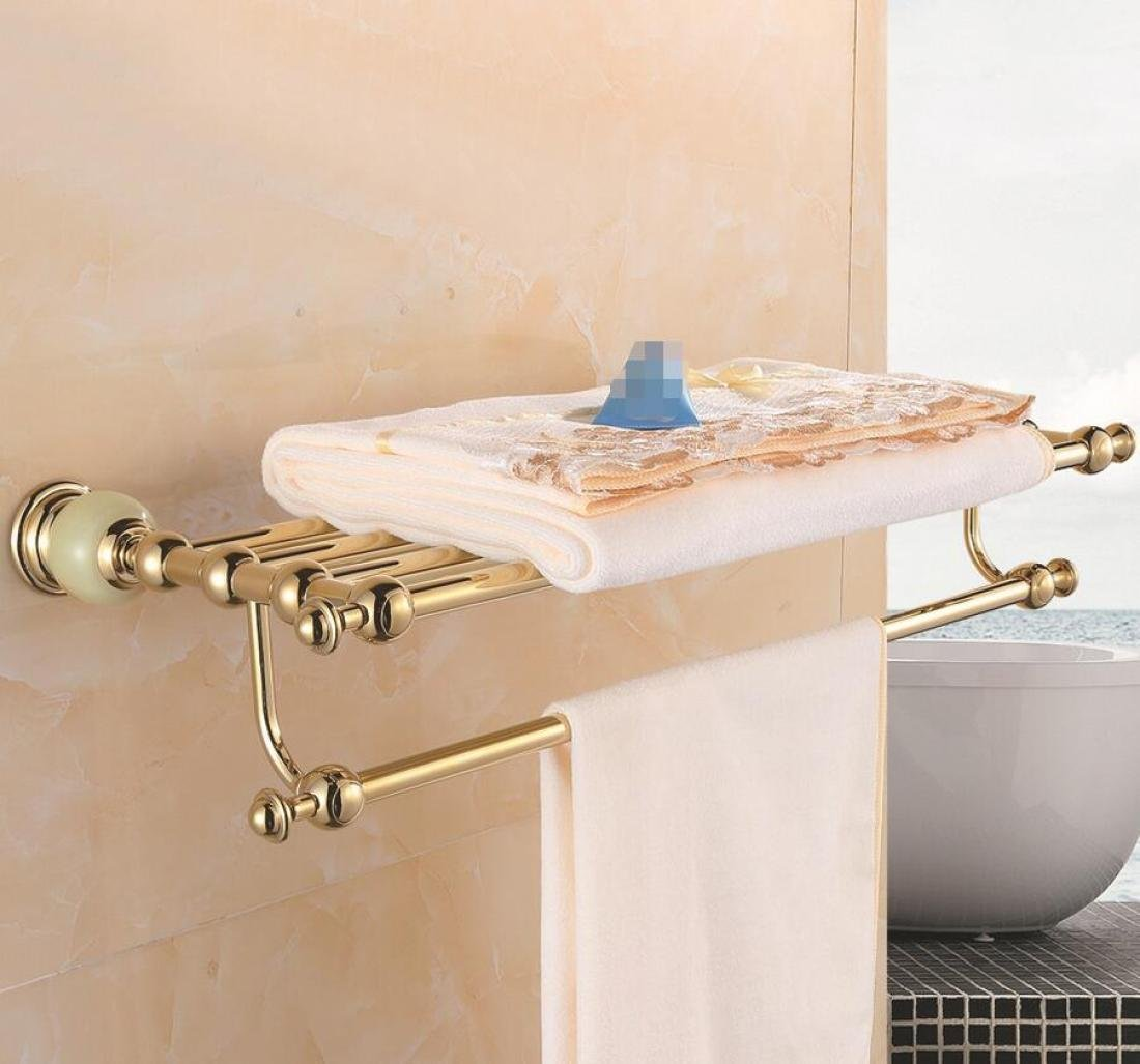 GL&G Gold Bathroom Bath Towel Rack European High-end marble Double Towel Bar Bathroom Accessories Holder Towel Bars Wall Mount Towel Shelf Home Decoration Storage,60cm