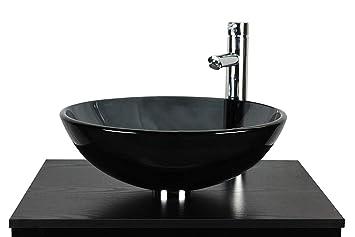 Salle De Bain Lavabo Vasque Semi Transparent Noir Bol En Verre Bassin évier  + Robinet