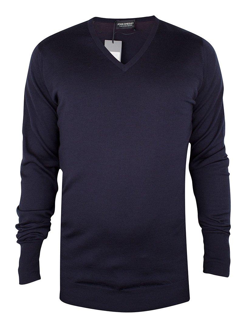 John Smedley Men's Bobby V Neck Merino Sweater, Midnight, Small by John Smedley (Image #4)