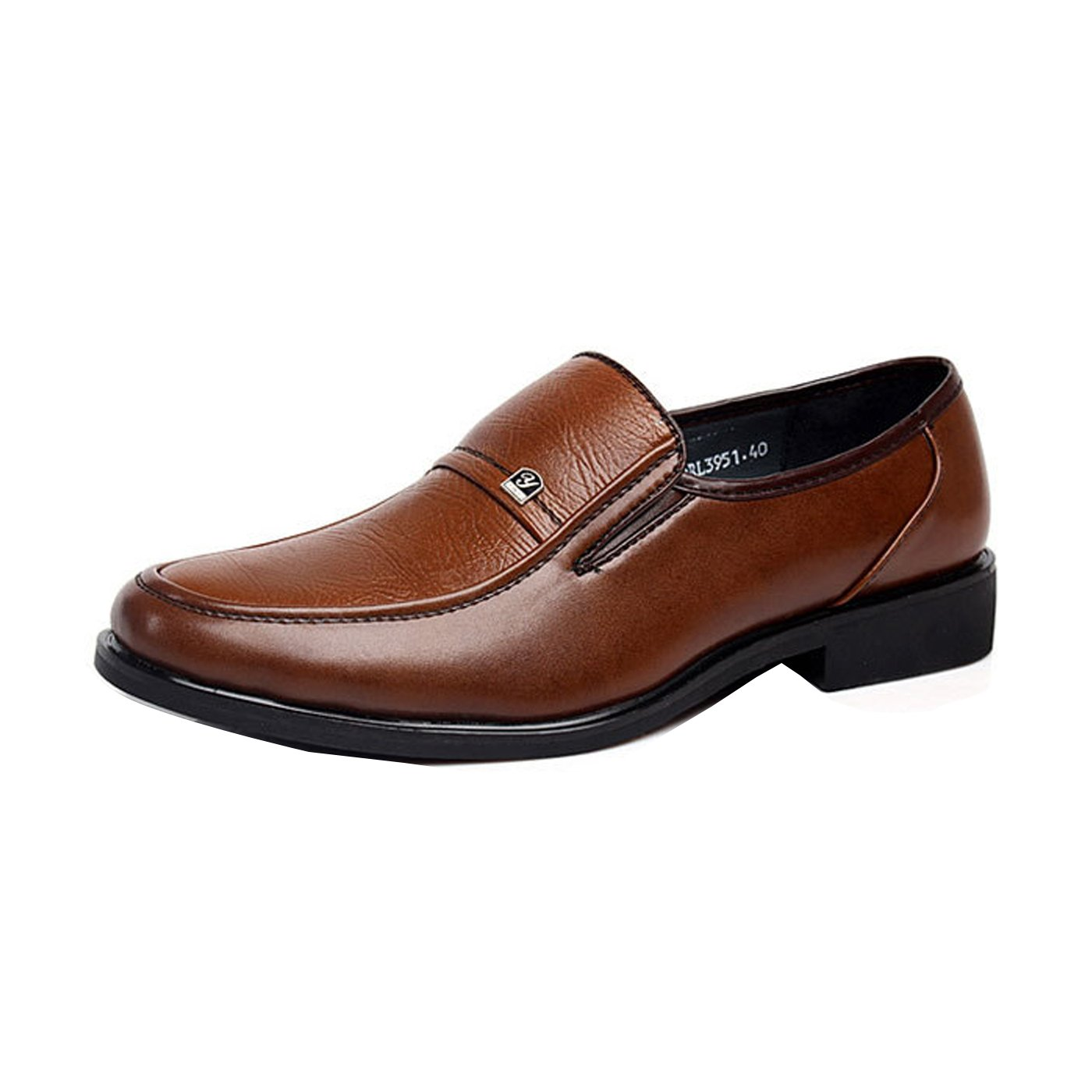 Gaorui Men's Work Formal Business Dress Shoes Flat Oxfords Loafers Slip On Leather Shoes Brown