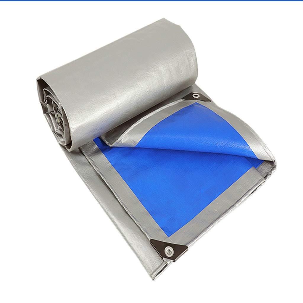LTM BÂche épaisse argentée Bleue, imperméable, idéale pour la bÂche de Prougeection, Bateau, Camping-Car ou Piscine  4×8m 13×26ft