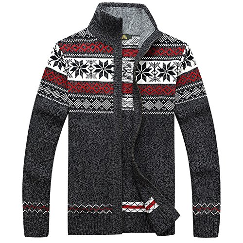 (Kedera Casual Men's Thick Knitted Zipper Cardigan Sweater with Pattern (Large, Gray))