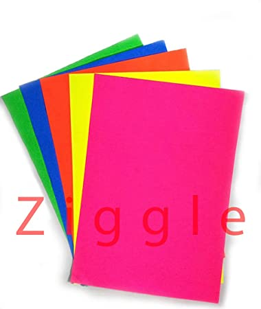 ziggle 50 a4 sheets printed a4 size sheets double sided multicolor fluorescent neon craft colored paper