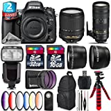 Holiday Saving Bundle for D610 DSLR Camera + 70-200mm f/2.8E VR Lens + 18-140mm VR Lens + Flash with LCD Display + 2.2x Telephoto Lens + 0.43x Wide Angle Lens + 6PC Graduated - International Version
