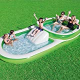 kid pools - Bestway H2OGO! Two-In-One Wide Inflatable Family Outdoor Pool, Features Dual Pool and Slide Combo, Cup Holders, Easy Set Up, Green/White