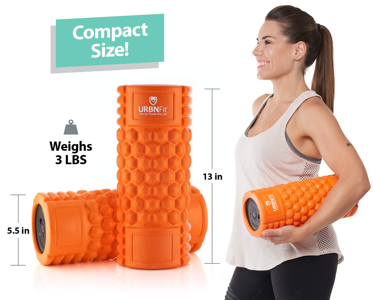 Vibrating Foam Roller - 5-Speed Massager and Roller for Muscle Recovery, Deep Tissue Trigger Point Massage Therapy - 5 Levels from Low To High Intensity Massage For Workouts -Includes Stretching Guide by URBNFit (Image #4)