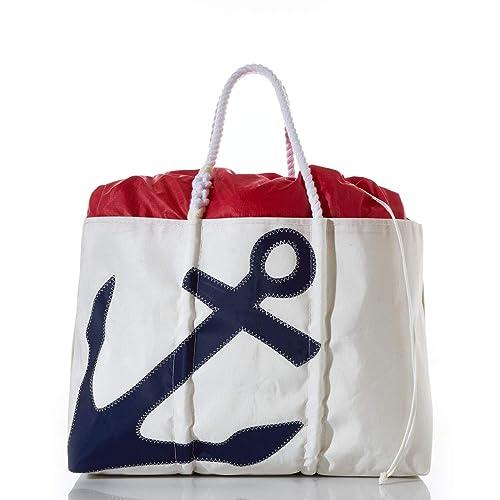 Amazon.com: Anchor bolsa reciclado Sail Cloth grande, con ...