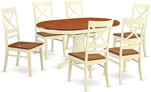 AVQU7-WHI-W Dining room sets for 6 -Kitchen Table and 6 Dining Chairs