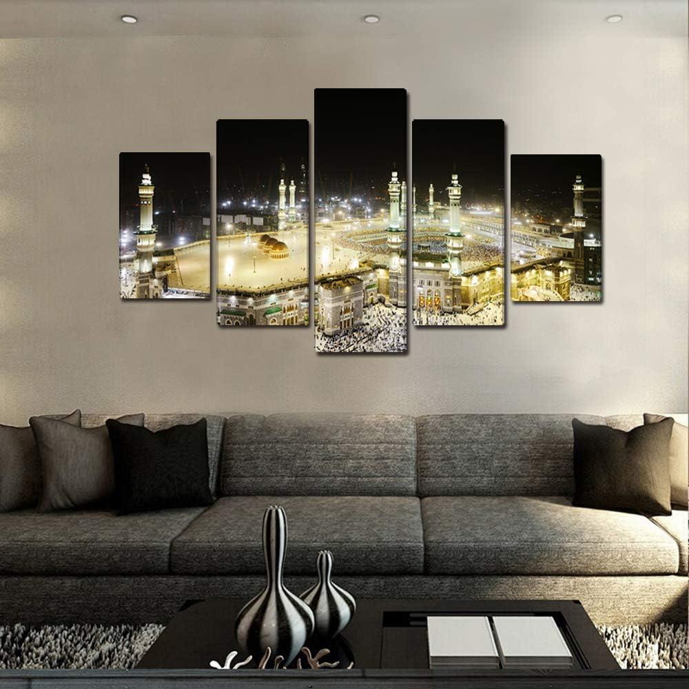 Cadre en Bois 50x30cmx2+70x30cmx2+90x30cm Fajerminart 5 Panneaux Islamique Toile Tableau Moderne of Muslim Hajj P/èlerinage /à Kabba /à La Mecque dans La Nuit Cadre Islam,Total Taille 90x150cm