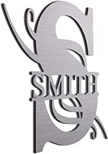 """Smith 12"""" Brushed Aluminum Monogrammed Sign Door Wall Decor Last Name Signs for Home"""