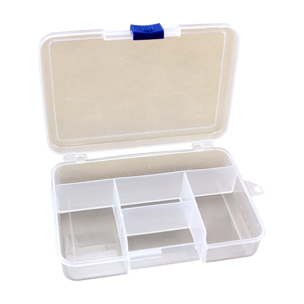 Zhhmeiruian Clear 5 Compartments Plastic Storage Box/ Adjustable Jewel Case