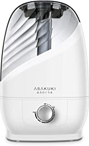 ASAKUKI Ultrasonic Cool Mist Humidifier,6L Premium Quiet Air Humidifier for Home, Bedrooms, Office or Babies Nursery, Visible Water Tank