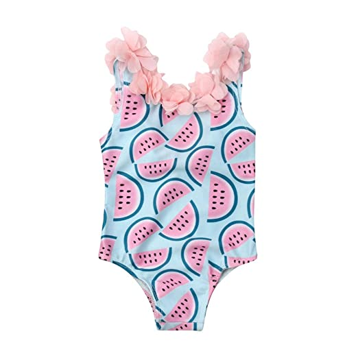 ac5e86bcde Lily.Pie Baby Girls Flower Shoulder Straps One Piece Swimsuit Backless  Bathing Suit Kid Toddler Girl Swimwear Beach Wear