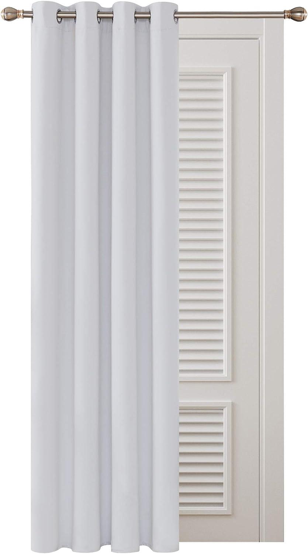 Deconovo Cortina Opaca Dormitorio Moderno con Aislamiento Térmico de Color Liso Decoración Hogar 1 Pieza con Ojales 132 x 138 cm Gris Blanco