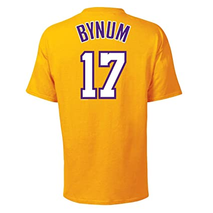 0ca7487a54c6 Amazon.com   Los Angeles Lakers Andrew Bynum Name and Number T-Shirt ...