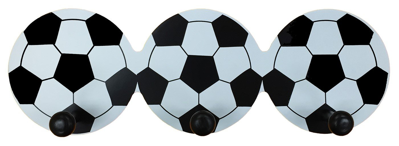 Headbourne Childrens Soccer Ball Hook Rail/Coat Rack with 3 Hooks