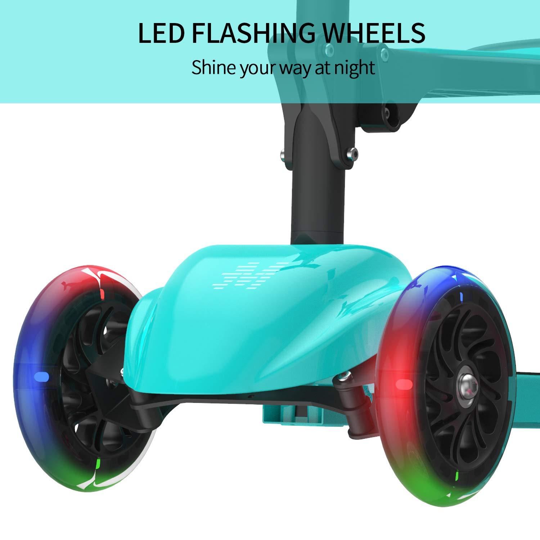 Altura Ajustable para ni/ños y ni/ñas de Corta Edad o ni/ños peque/ños Scooter de Patada Macwheel 2 en 1 con Asiento Plegable//extra/íble 3 Ruedas con Luces LED