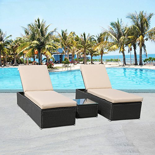 MAGIC UNION Outdoor 3 Piece PE Rattan Wicker Lounge Set Swimming Pool Beach Chaise with Side - Resin Piece 3 Wicker