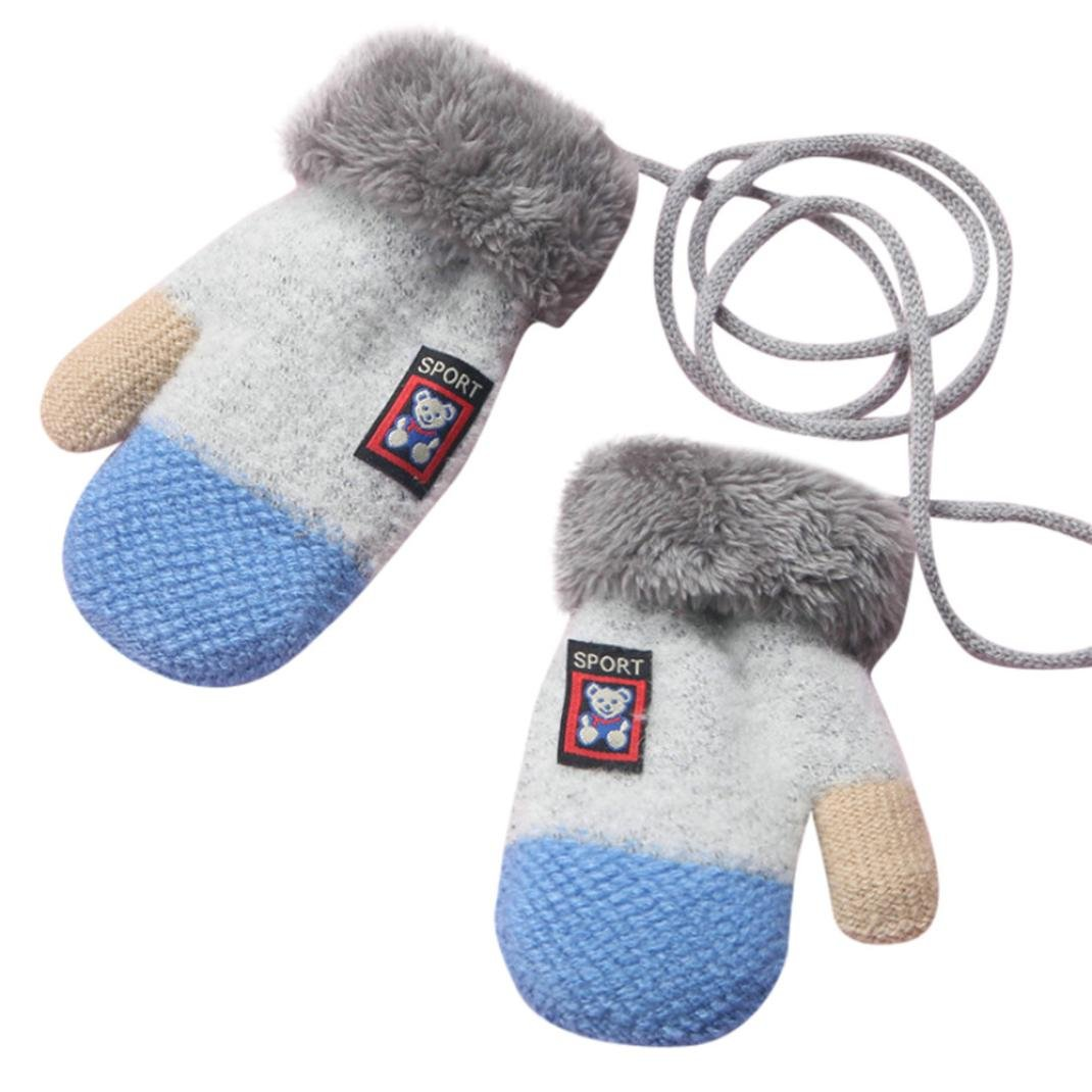 Minshao Infant Baby Girls Boys Cute Bear Thicken Winter Warm Gloves For 1-4 Years old (Gray)