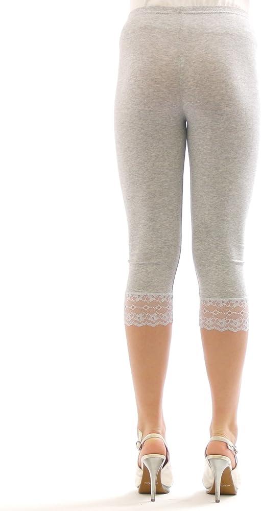 Yeset Leggins Capri 3/4 de Las para Mujer de algodón Encaje Azul S ...
