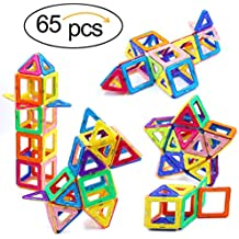 Magnetic Blocks, Ranphykx 65 Piece Magnetic Building Blocks Set Magnetic Tiles Educational Toys for Kids