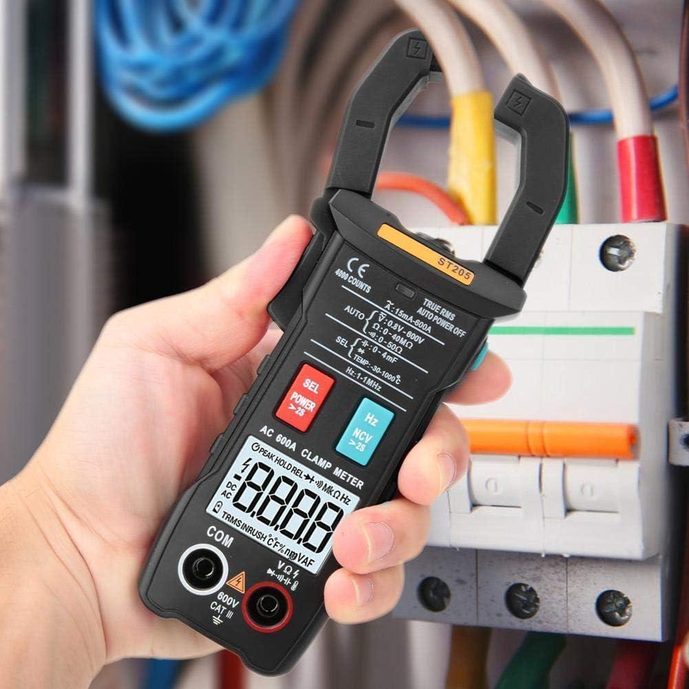 BXU-BG Pinza multímetro digital, ST205 4000 cuentas completa inteligente rango de verdadero valor eficaz medidor digital for equipos eléctricos de prueba y mantenimiento automático (Negro)