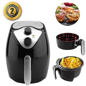 Freidora de aire caliente, Aero freidora de aire caliente Fryer 1300 W 8 in1 2.8 L Capacidad Negro [Clase energética A +]: Amazon.es: Hogar