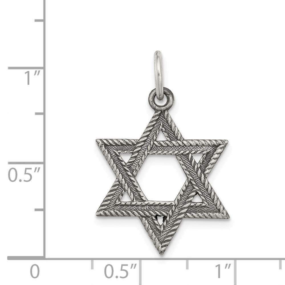 Sterling Silver Antiqued Star of David Pendant Solid 18 mm 23 mm Themed Pendants /& Charms Jewelry