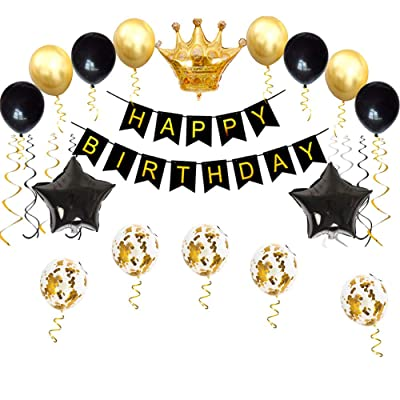Birthday Party Decorations KIT - Happy Birthday Banner, Gold Crown Balloon Gold and Black Latex Balloons, Perfect Party Supplies: Health & Personal Care