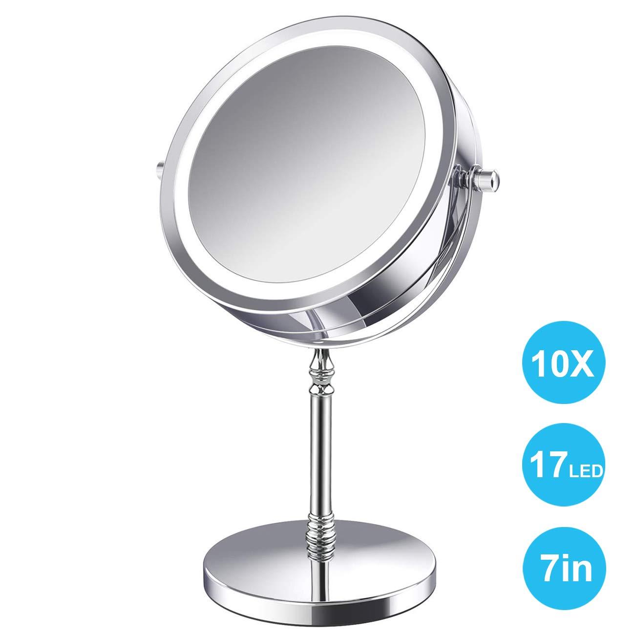 AMELAR LED Kosmetikspiegel Beleuchtet 10x Vergr/ö/ßerungsspiegel im Badezimmer,7-Zoll-Vergr/ö/ßerung Makeup Spiegel mit Beleuchtung Doppelseitige