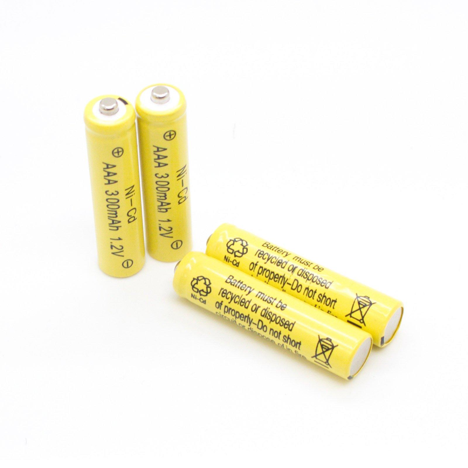 Solar Light Replacement AAA Ni-Cd 300mah Rechargable Batteries (Pack of 12) (AAA 300mAh)