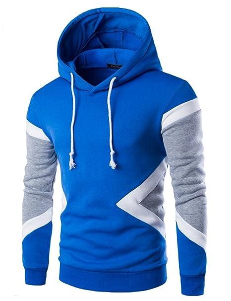 Glestore Sudadera con capucha de manga larga para hombre, color negro, gris o azul, color XS-L: Amazon.es: Ropa y accesorios