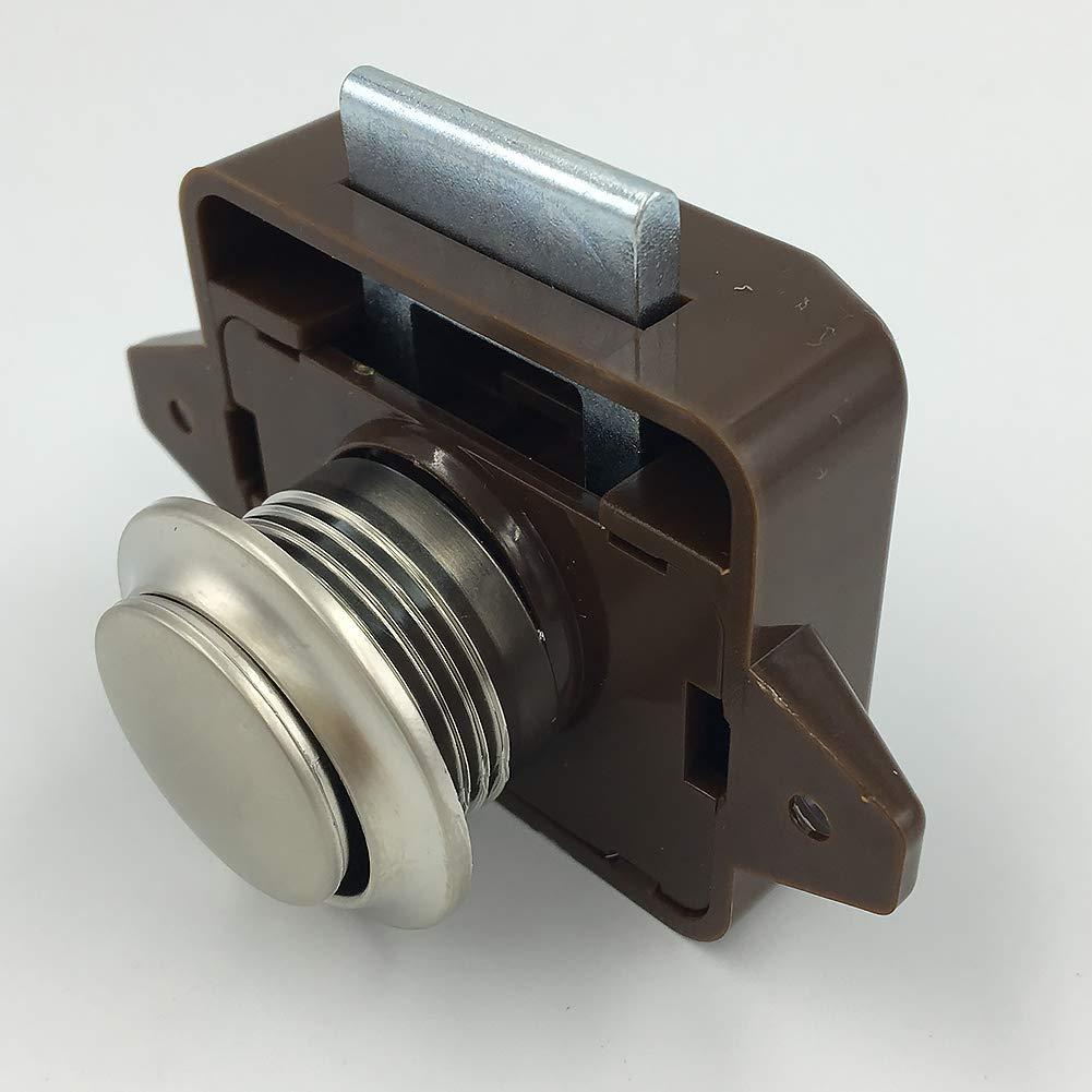 Chiusura a bottone automatico, in metallo, marrone, per cassetti da 14 a 18 mm di spessore Taglia unica Braune Schale Tookie