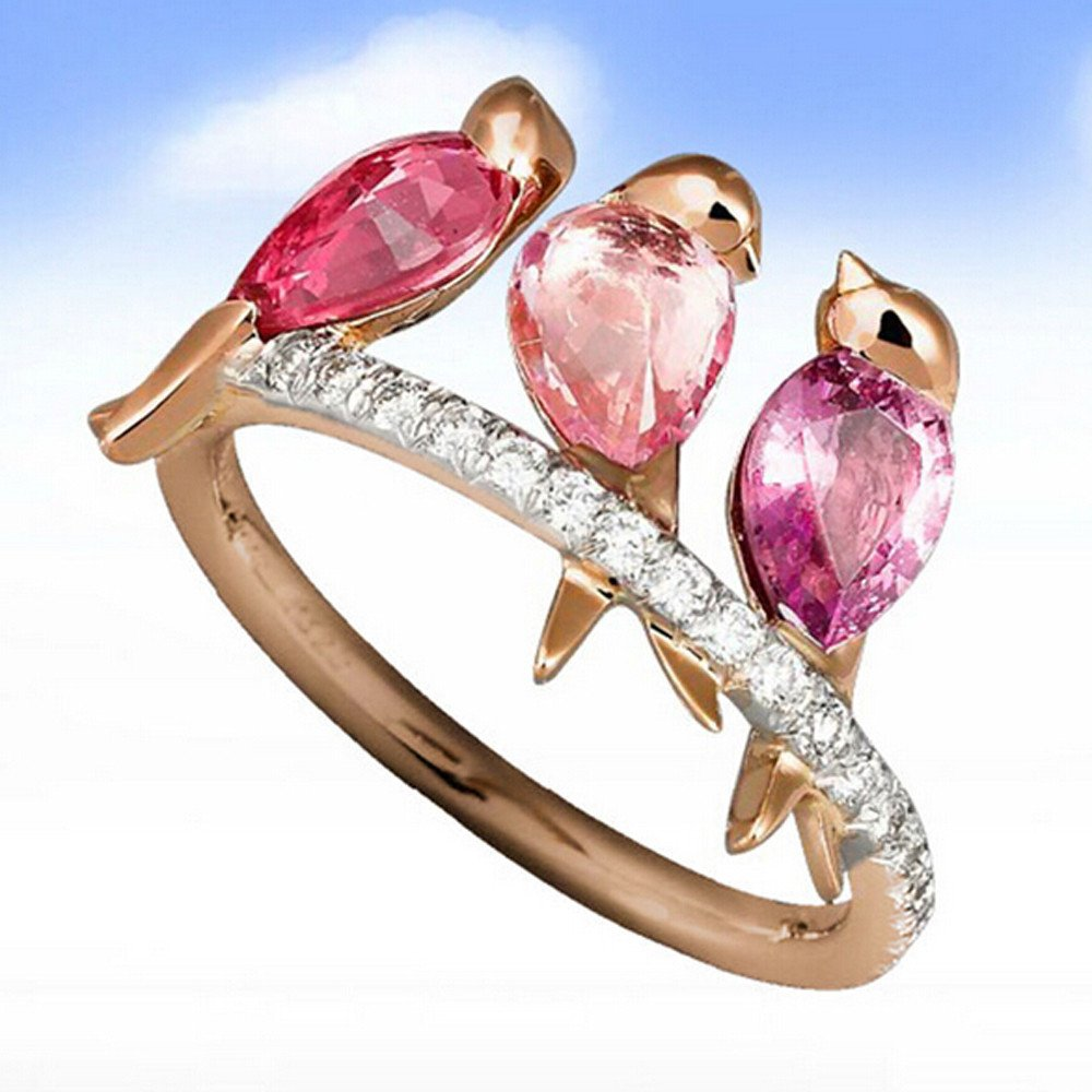 Valentine's Day Best Gift,Keepfit Women's Charming Personality 3 Birds Design Cute Animal Rings(Rose Gold,6) by Keepfit_Rings (Image #2)