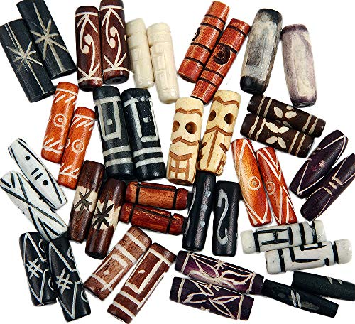 (Curious Designs Beads, Bone - Pairs, Mix of Bright Contemporary and Old Indonesian Trade, 44 Pcs.6-1 inch,)