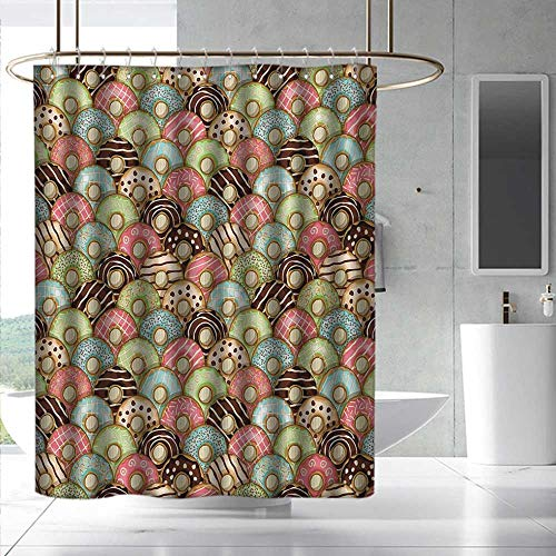 Tea Party Shower Curtain with Hooks Colorful Delicious Donuts Sweet Breakfast Pastry Creamy Taste Bakery Food Theme Shower Curtains in Bath W55 x L84 Multicolor