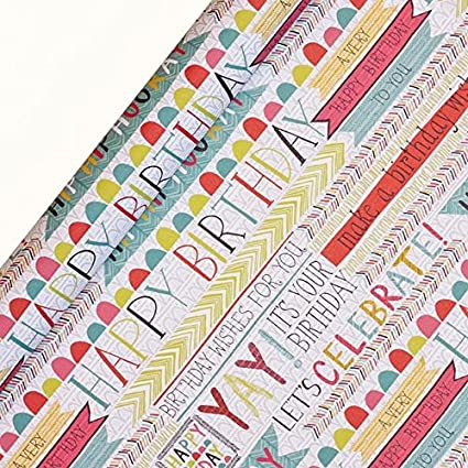Jessica Hogarth Birthday Multiple Wrapping Paper 3 Sheets Amazoncouk Kitchen Home