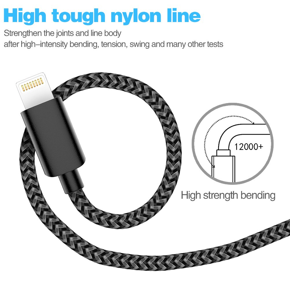 Phone Charger Cable,MFi Certified USB Cable 5 Pack【3//3//6//6//10FT】Extra Long Nylon Braided USB Charging /& Syncing Cord Compatible with iPhone Xs//Max//XR//X//8//8Plus//7//7Plus//6S//6S Plus//SE//Nan More