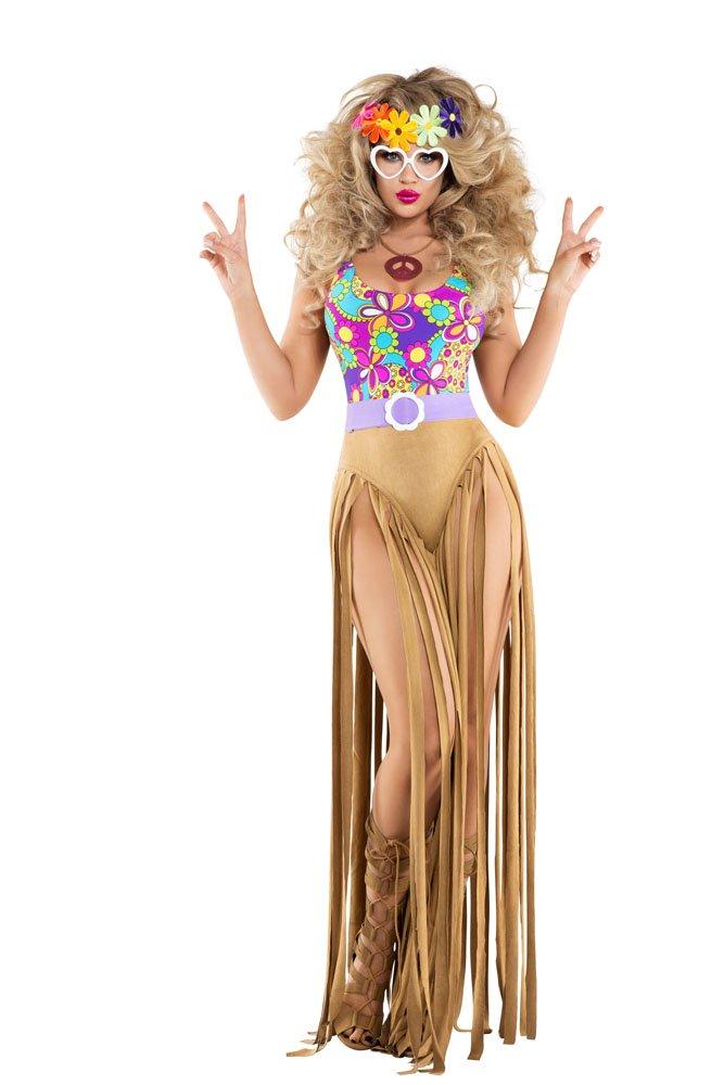 Damens's Hippie Hottie Fancy dress costume Large