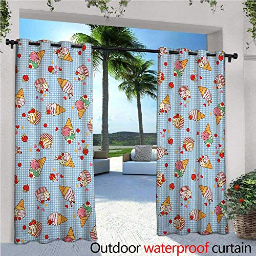 familytaste Ice Cream Outdoor Blackout Curtains Sweet Cherries on a Checkered Tartan Motif with Hearts Love Valentines Print Outdoor Privacy Porch Curtains W84 x L84 Multicolor - Ruffle Cherry