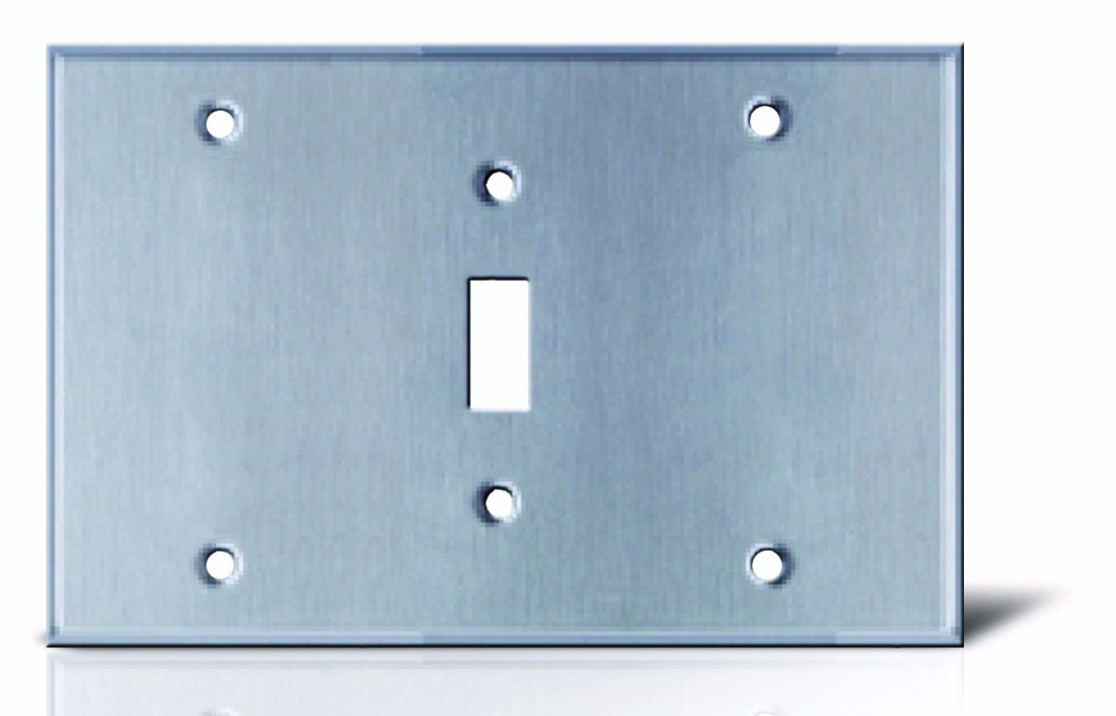 3 GANG WALL COVER PLATE COMBINATION DECORA GFCI SWITCH DUPLEX PLUG BLANK STAILNLESS STEEL (6: BLANK - SWITCH - BLANK)