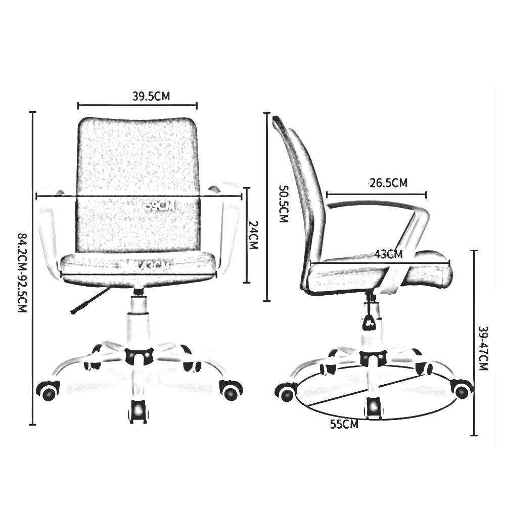 WYYY stolar kontorsstol ergonomisk svängbar stol verkställande datorstol stål baserad justerbar höjd 39–47 cm hållbar stark (färg: svart) Svart