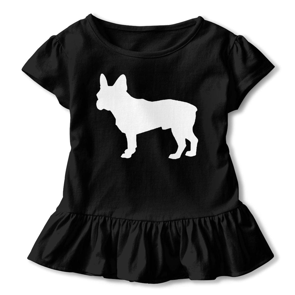 SHIRT1-KIDS French Bulldog Toddler//Infant Girls Short Sleeve Ruffles Shirt T-Shirt for 2-6 Toddlers