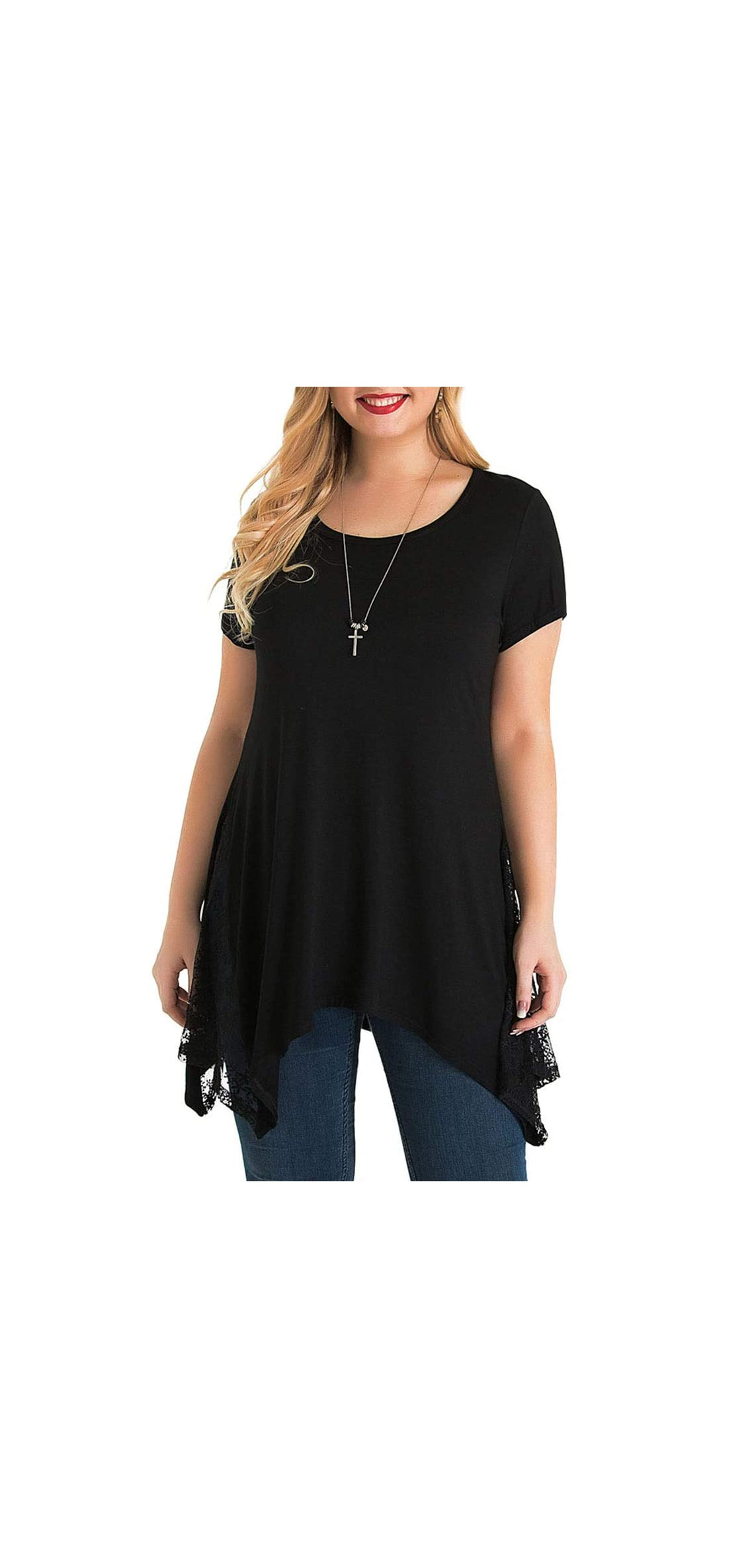Women's Plus Size Short Sleeve T Shirts Lace Swing Tunic