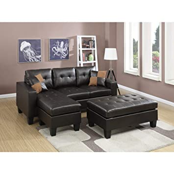 Pleasing Amazon Com Benjara Bonded Leather Sectional Sofa With Squirreltailoven Fun Painted Chair Ideas Images Squirreltailovenorg