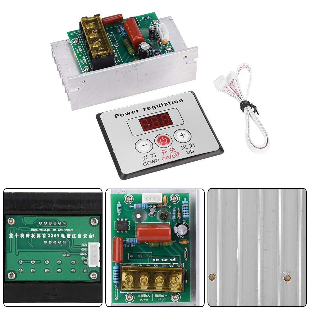 AC 220V 6000W Adjustable SCR Digital Voltage Regulator Electric Motor Speed Control Dimming Dimmer Thermostat Module by Wal front (Image #9)