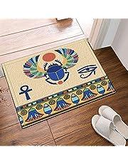 Vector Illustration Scarab Decor Egyptian Pattern Bath Rugs, Non-Slip Floor Entryways Outdoor Indoor Front Door Mat,15.7x23.6 Inches Bath Mat